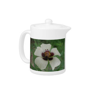 White and Purple Passionflower Teapot