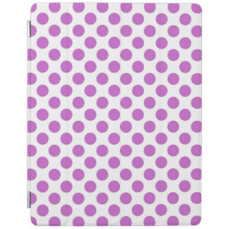 White and purple polka dots pattern iPad cover