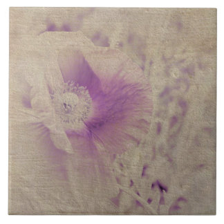 White and Purple Poppy Floral Ceramic Tiles