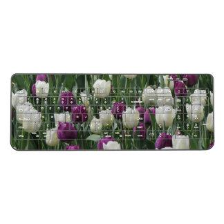 White and Purple Tulips Wireless Keyboard