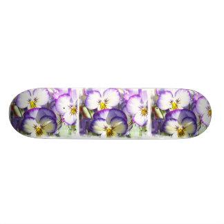 White and Purple Violas Skateboard