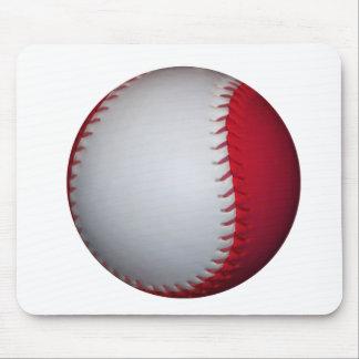 White and Red Baseball / Softball Mouse Pad