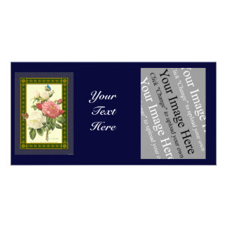 White and Red Botanical Roses Photo Card Template