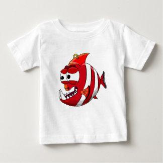white and red cartoon piranha fish baby T-Shirt