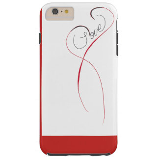 white and red case with love heart