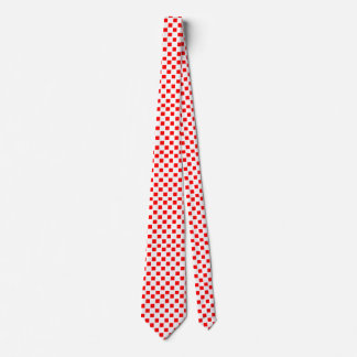 White and Red Checked Custom Tie