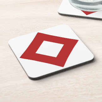 White and Red Diamond Pattern Drink Coasters