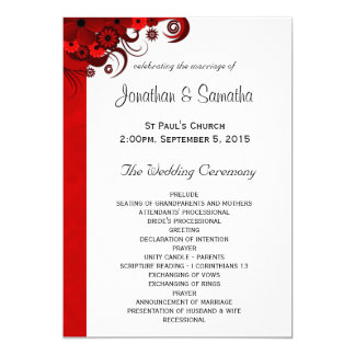White and Red Floral Wedding Program Templates