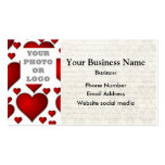 White and red heart pattern photo template pack of standard business cards