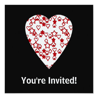 White and Red Heart. Patterned Heart Design. 13 Cm X 13 Cm Square Invitation Card