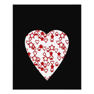 White and Red Heart. Patterned Heart Design. Custom Flyer