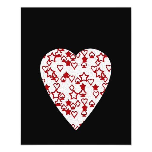 White and Red Heart. Patterned Heart Design. Custom Flyer