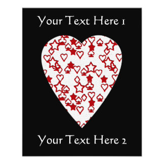White and Red Heart. Patterned Heart Design. Full Color Flyer