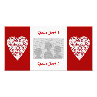 White and Red Heart. Patterned Heart Design. Personalized Photo Card