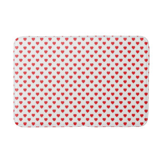 White And Red Hearts Polka Dot Pattern Bath Mat