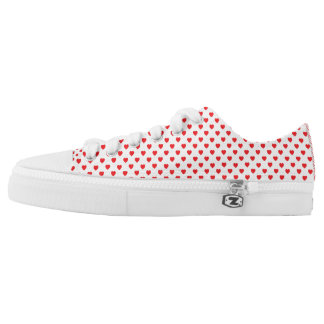 White And Red Hearts Polka Dot Pattern Low Tops