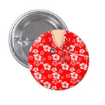 White And Red Hibiscus Island Medical Scrubs 3 Cm Round Badge