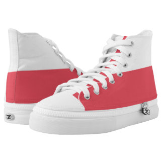White and Red II Two-Tone Hi-Top Printed Shoes