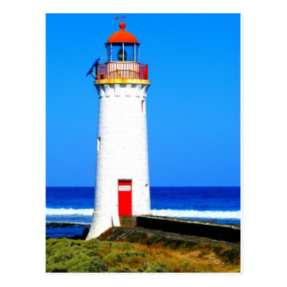 White and red lighthouse postcard