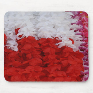 White and Red Petal Garland Mouse Pad