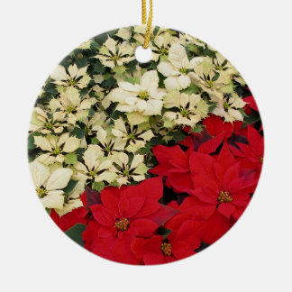 White and Red Poinsettias I Holiday Floral Round Ceramic Decoration
