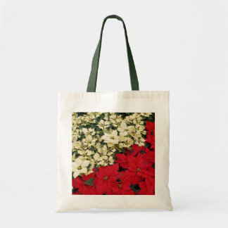 White and Red Poinsettias I Holiday Floral Tote Bag