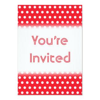 White and Red Polka Dot Pattern. Spotty. 13 Cm X 18 Cm Invitation Card