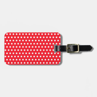 White and Red Polka Dot Pattern. Spotty. Luggage Tag
