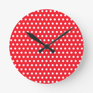 White and Red Polka Dot Pattern. Spotty. Round Clock