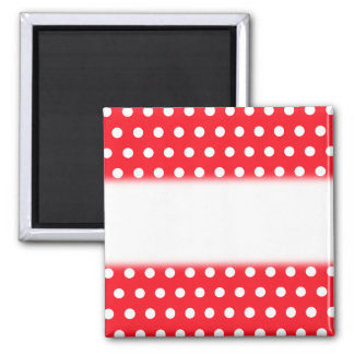 White and Red Polka Dot Pattern. Spotty. Square Magnet