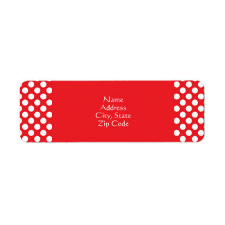 White and Red Polka Dot Return Address Label