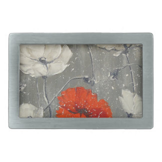 White and red poppies rectangular belt buckle