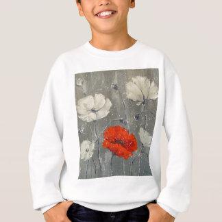 White and red poppies sweatshirt