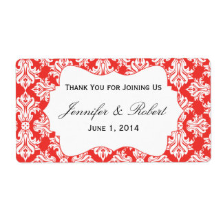 White and Red Poppy Damask Water Bottle Label Shipping Label