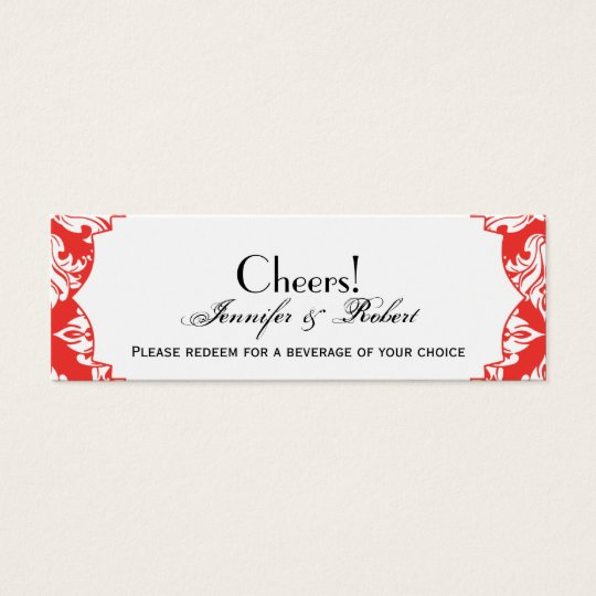 White and Red Poppy Damask Wedding Drink Ticket