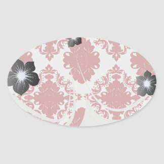 white and red romance damask design oval sticker