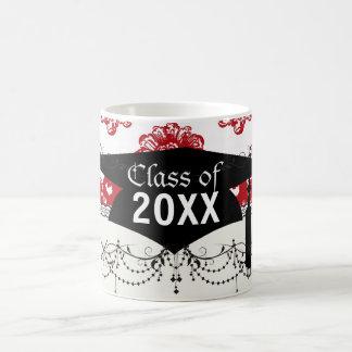 white and red romance damask pattern graduation coffee mug