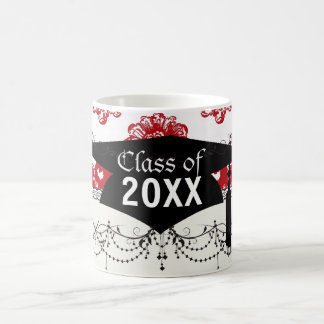 white and red romance damask pattern graduation coffee mugs