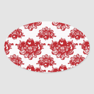 white and red romance damask pattern oval stickers