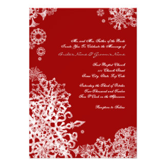White and Red Snowflakes Wedding Invitation 3
