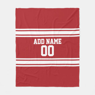 White and Red Sports Jersey Custom Name Number Fleece Blanket