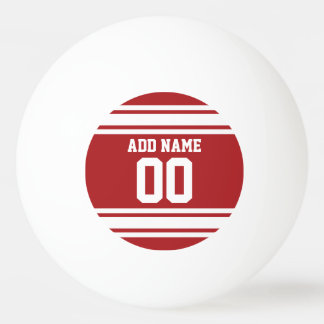 White and Red Sports Jersey Custom Name Number Ping Pong Ball