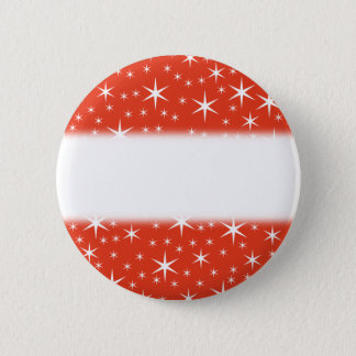 White and Red Star Pattern. 6 Cm Round Badge