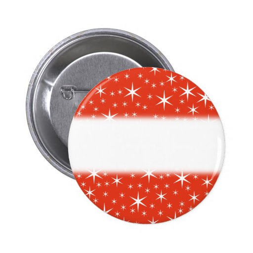 White and Red Star Pattern. Pinback Button