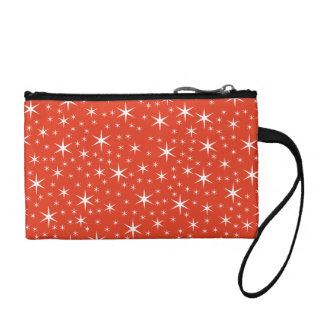 White and Red Star Pattern. Coin Purse