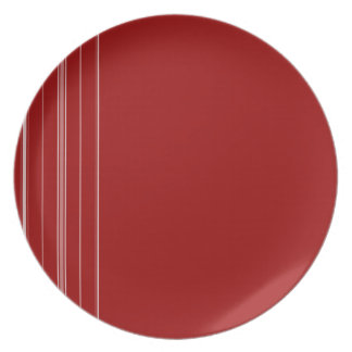 White and Red Striped Plate