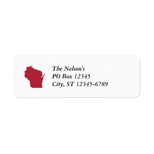 White and Red Wisconsin Return Address Label