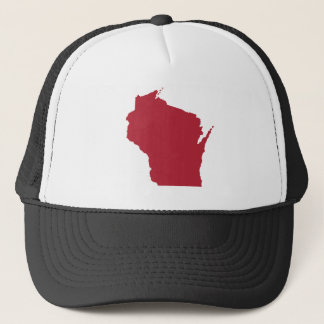 White and Red Wisconsin Trucker Hat