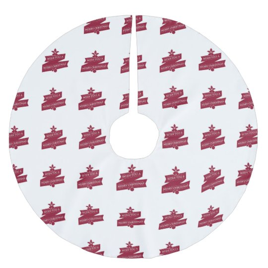 White And Red Wish You A Merry Christmas Brushed Polyester Tree Skirt
