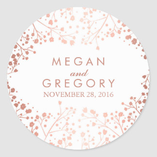 White and Rose Gold Baby's Breath Wedding Classic Round Sticker
